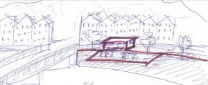 Eine grobe Zeichnung der Idee eines Cafes an der Innbrücke